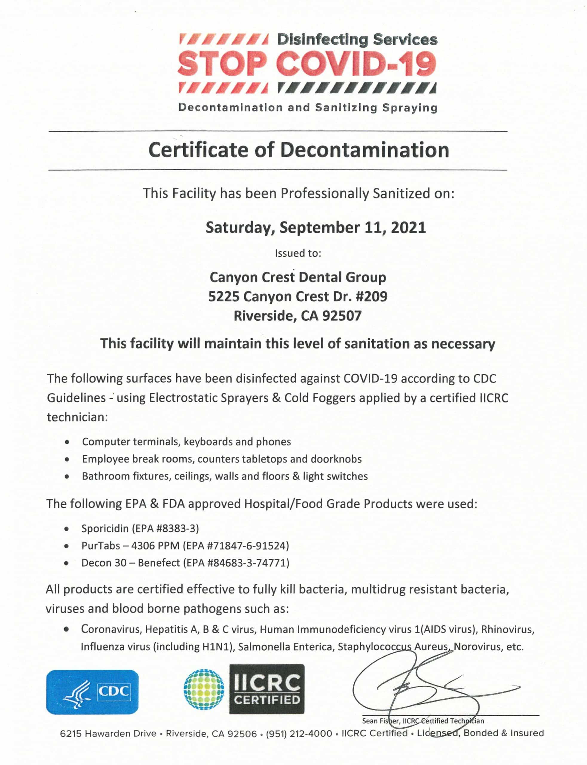 Covid 19 Certificate of Decontamination
